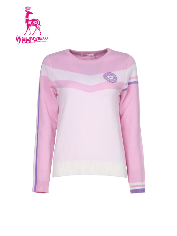 Women's long sleeve sweater, in pink and white color blocking.