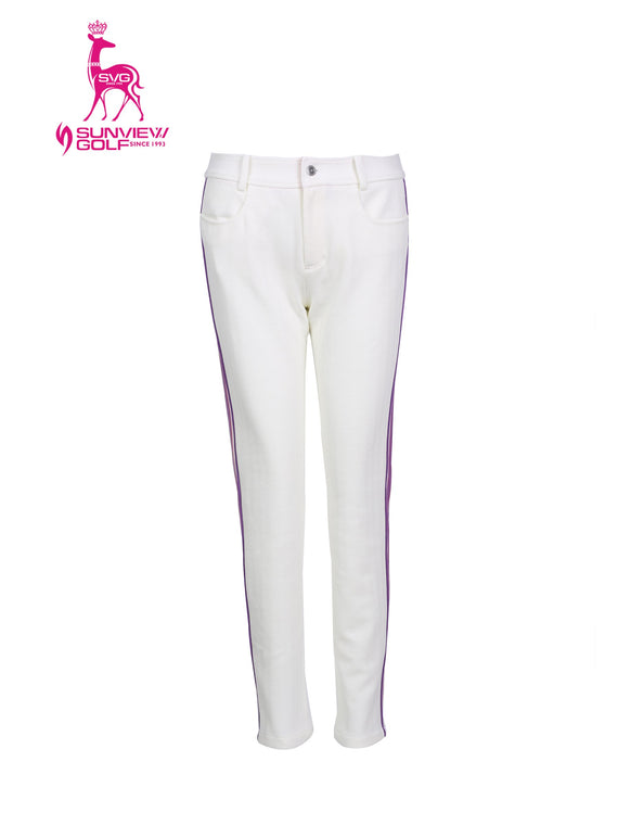 Women's stretchy slim pants with purple accents, in white.