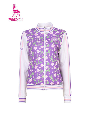Women's long sleeve bomber with floral print, in purple and white color blocking.