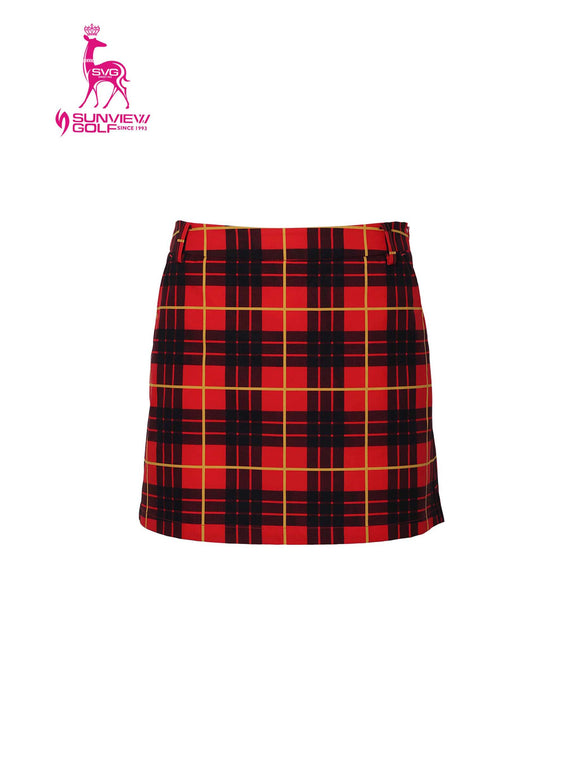 Women's A-Line skort, in red and plaid print.