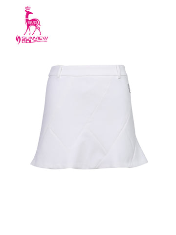Women's A-line skirt, in white, with flared hem, and scarf decoration.