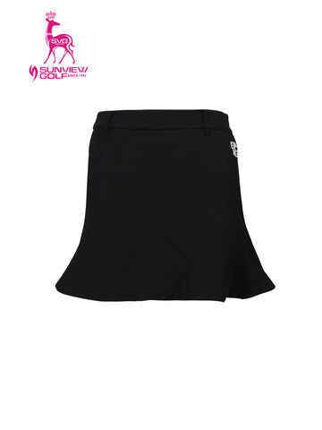 Women's A-line skirt, in black, with flared hem, and scarf decoration.