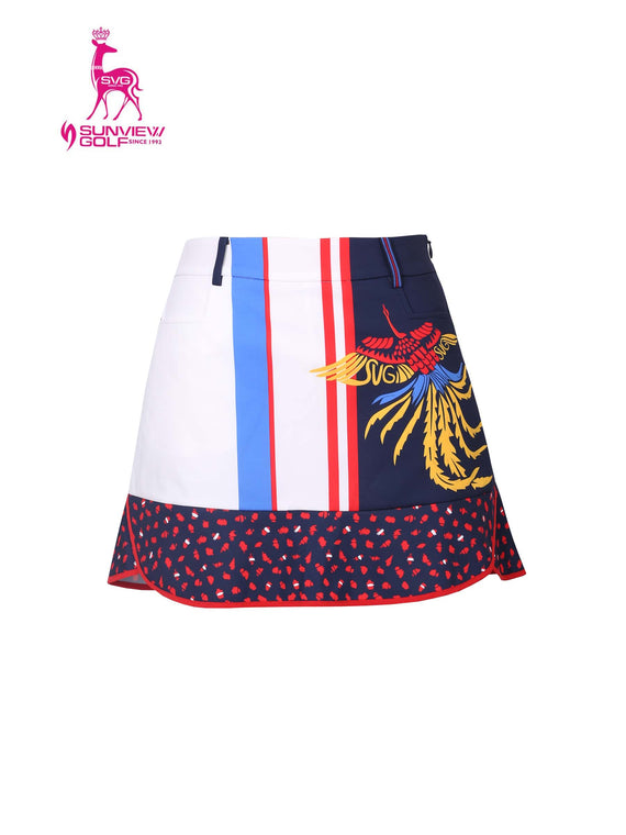 Women's A-line skirt, in white and navy color blocking, with phoenix print, red and blue stripe trims.