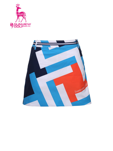 Women's A-line skort, in multi-color geo print.