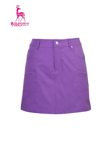 Women's A-line skirtcwith dropped back hem, in purple.