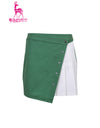 Women's Aline skirt with side pleats, in green and white color blocking.
