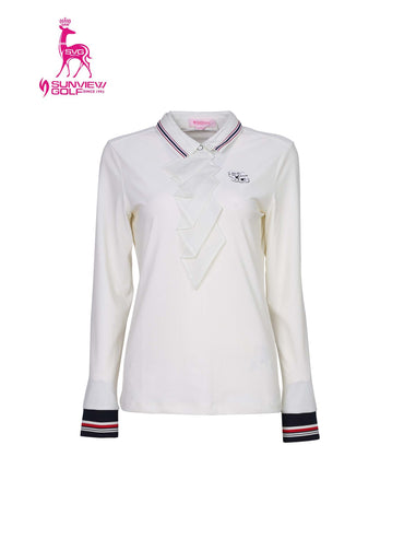Women's long sleeve polo, in white, with folded chiffon decoration, red and navy stripe trims.