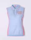 Women's sleeveless shirt, in blue gingham, pink color blocking on both sides.
