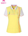 Women's short sleeve polo, in light yellow and putting print.