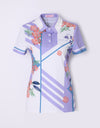 Women's purple short sleeve polo, in geo and floral mix print.