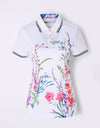 Women's short sleeve polo, in white , with floral print.