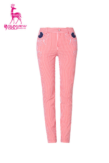 Women's slim pants, in red stripe and unbrella print.