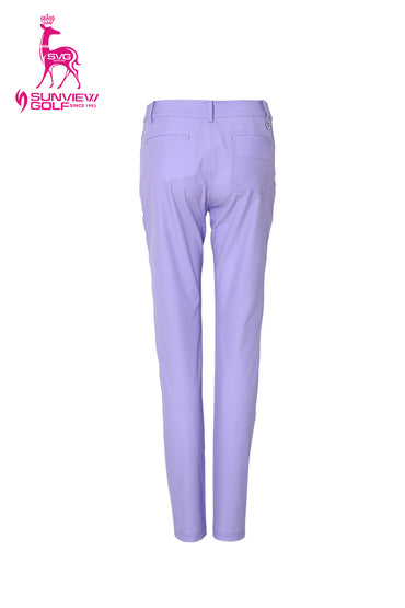 Women's slim pants with waterproof pockets, in purple.