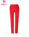 Women's red slim pants, with water-proof zipped pockets.