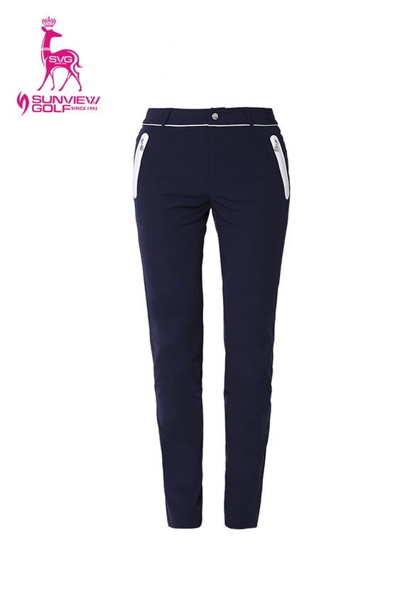Women's navy slim pants, with water-proof zipped pockets.