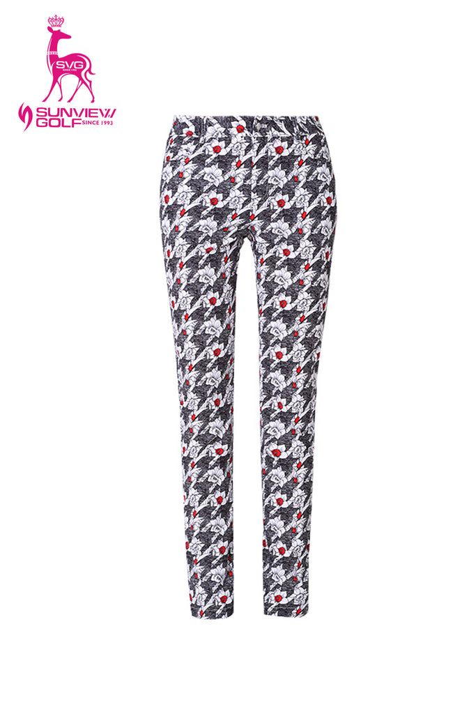 Women's slim pants, in hountstooth and floral mixed print