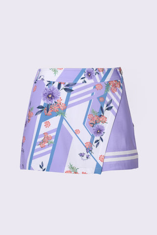 Women's A-Line skort, in purple, with floral print