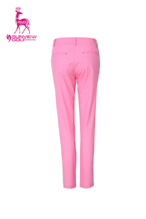 Women's stretchy pants, slim pink, in pink.