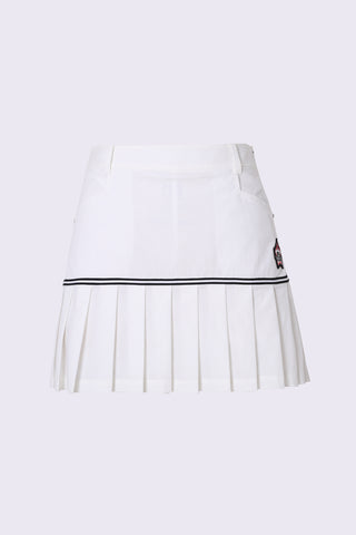 Women's white A-Line skirt with pleated hem.