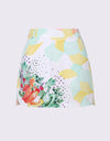 Women's A-Line skirt, in light green tropical print.
