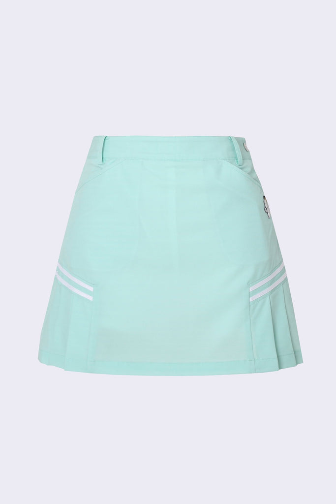 Women's A-Line skirt with side pleat, in green.