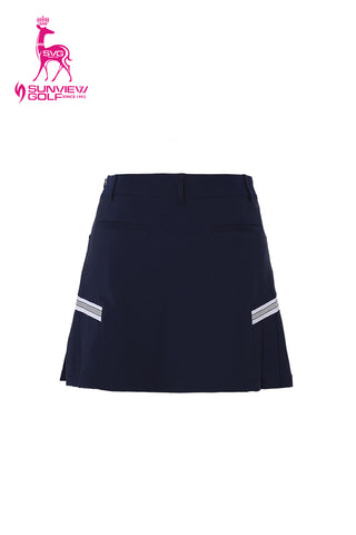 Women's A-Line skirt with side pleats, in navy.