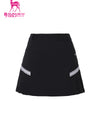 Women's A-Line skirt with side pleats, in black.