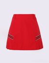 Women's A-Line skirt with side pleat, in red.