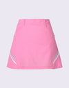 Women's pink A-Line skirt with  side pleat.