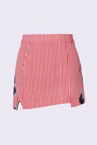 Women's asymmetric A-Line skirt, in red stripe and unbrella print.
