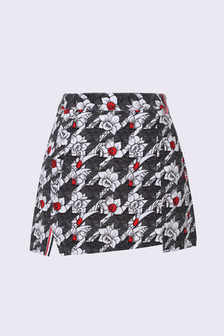 Women's asymmetric A-Line skirt, in hountstooth and floral print.