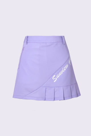 Women's A-Line skirt in purple, with side pleats.