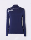 Women's navy long sleeve layering top with mock neck, slogan print.