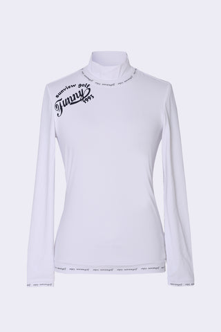 Women's white long sleeve layering top with mock neck, slogan print