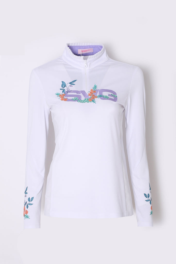 Women's long sleeve layering top with zipped stand collar, floral and logo embroidery.