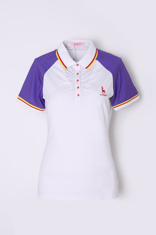 Women's white short sleeve polo, with red and yellow stripe trims, purple contrasting sleeves