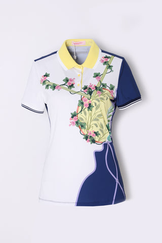 Women's short sleeve polo, in white and navy custom print.