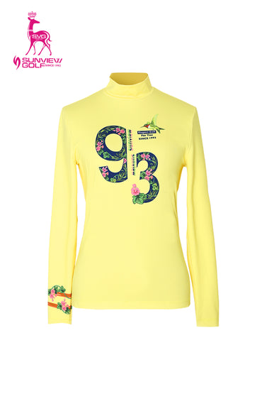 Women's long sleeve layering top with mock neck, in yellow, floral print.