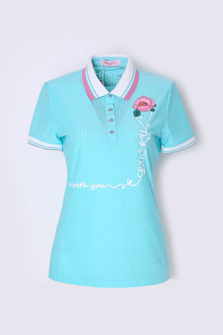 Women's short sleeve polo, in green, floral print.