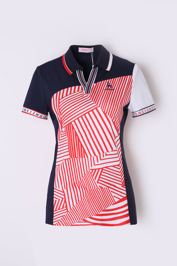 Women's short sleeve polo, in navy and white color blocking, with red stripes.