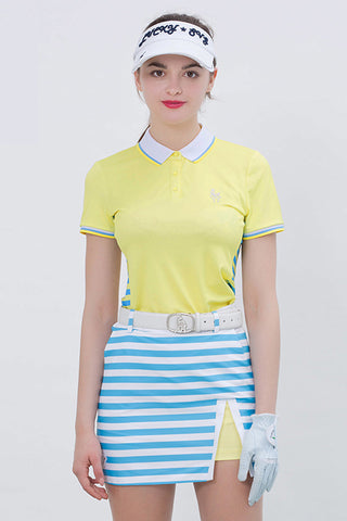 Women's short sleeve polo, in yellow,  with blue stripes on both sides.