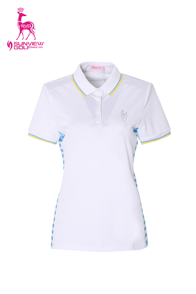 Women's short sleeve polo, in white,  with blue stripes on both sides.