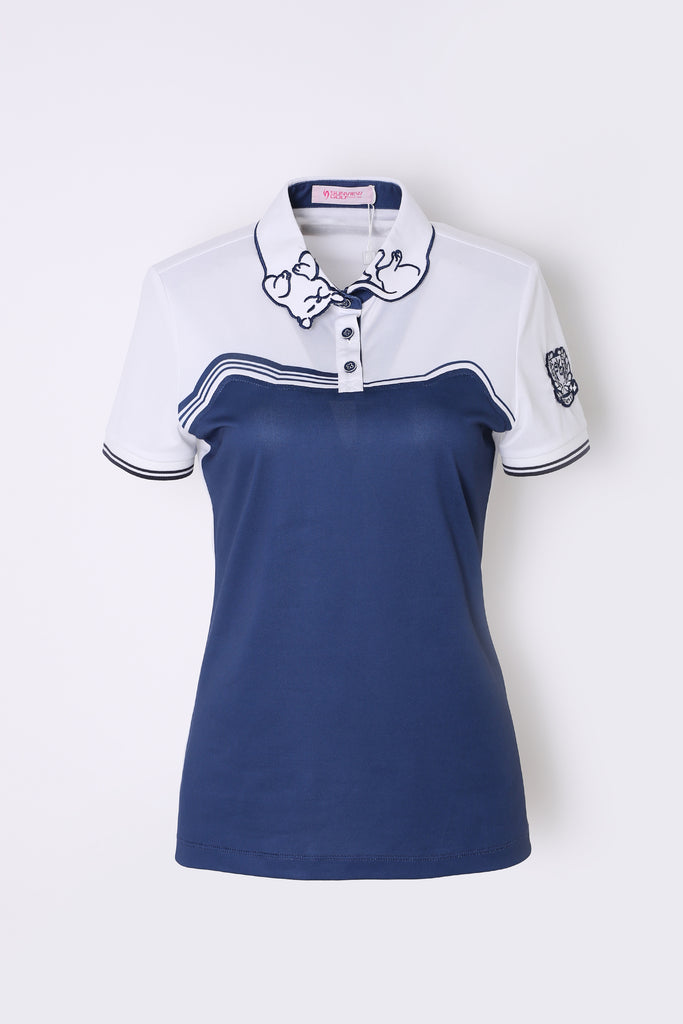 Women's short sleeve polo with cat shape print, in navy and white color blocking.