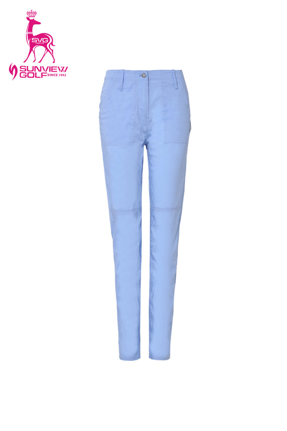 Women's blue slim pants, with orange aroma.