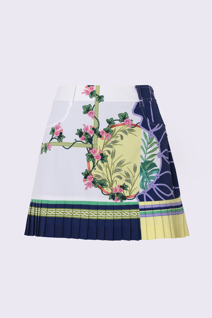 Women's A-Line skirt, with pleated hem. white, yellow and navy color blocking, in floral print.
