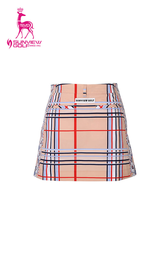 Women's A-Line skirt, in beige and plaid print.