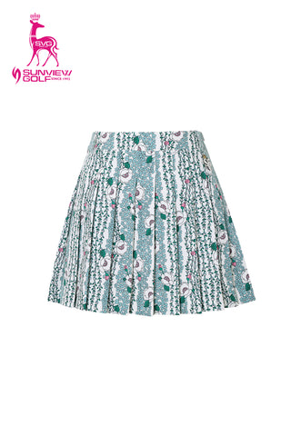 Women's green pleated skirt, in all-over floral print