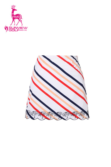 Women's white A-Line skirt, with candy stripes, embroidered scallop hem.