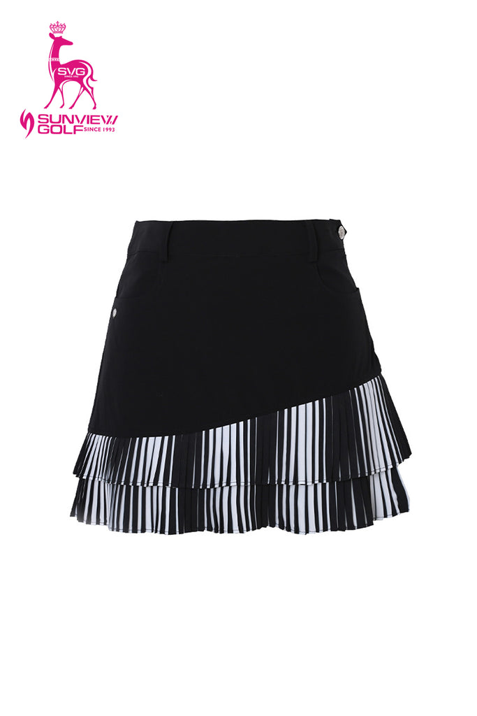 Women's A-Line skirt, with black and white pleated hem.