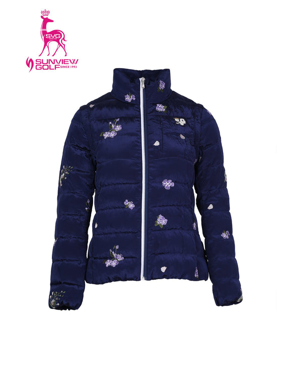 Women's down jacket, with detachable sleeves, in navy and floral embroidery.